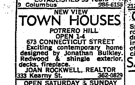 SF Chronicle, 4 Jun 1967. For 671-677 Connecticut Street.