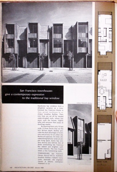 Architectural Record, January 1968. Feature: 671-677 Connecticut Street, just built. Designed by Jonathan Bulkley.