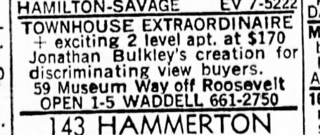 SF Examiner, 28 Jul 1968. For 58 Museum Way.