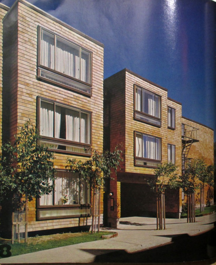 Architectural Record, Mid-May 1972. Image of Friendship Village units, built 1971. Designed by Bulkley.