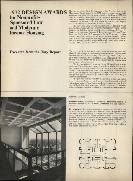 AIA Journal, November 1972. Awards included Friendship Village, built 1971. Designed by Bulkley.