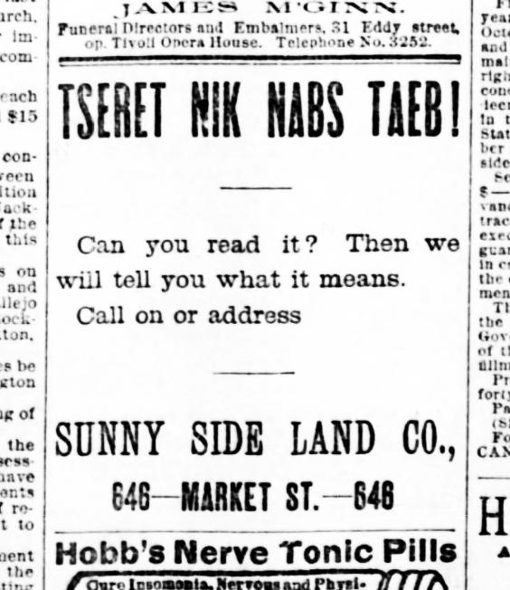 SF Examiner, 28 Aug 1891.