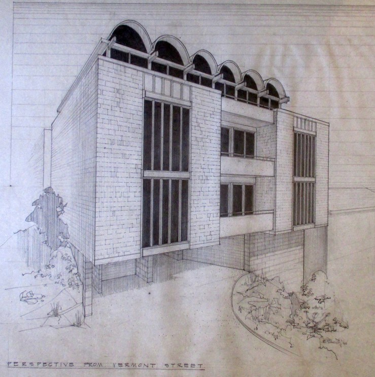 1965. Architect's rendering of design for 875 Vermont Street, designed by Jonathan Bulkley. Courtesy of the Bulkley family.