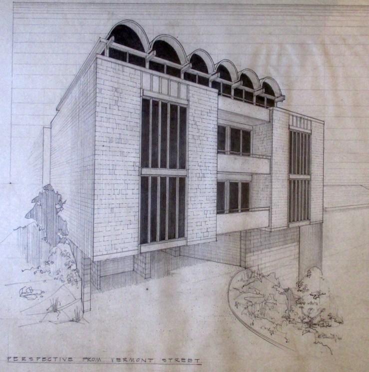 1965. Architect's rendering of design for 875 Vermont Street, designed by Jonathan Bulkley. Courtesy of the Bulkley family.