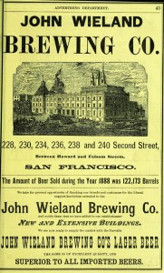 Ad for Wieland's beer, from SF Directory, 1899.