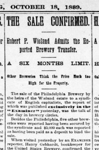 SF Examiner, 18 Oct 1889. View entire article here. https://sunnysidehistory.org/wp-content/uploads/2019/09/1889Oct18-Examiner-Sale-of-breweries-Wieland.jpg