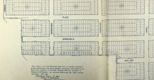 Portion of the original Sunnyside Land Company homestead map, submitted to the city in 1891. View whole map here. https://sunnysidehistory.org/wp-content/uploads/2019/06/1891-Sunnyside-homestead-map-sm.jpg