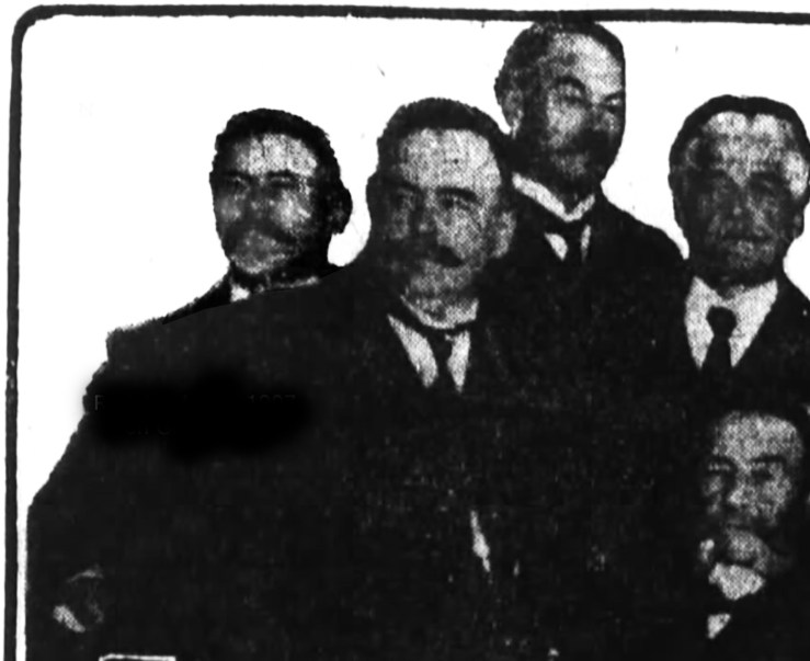 Rudolph Mohr, on far left in the rear. Chosen for the Grand Jury for the Abe Ruef graft trial. SF Chronicle, 20 Mar 1907.