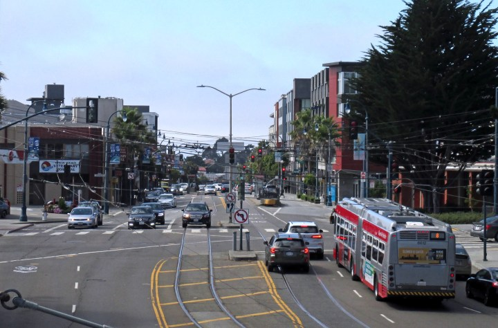 2019. View west from pedestrian overpass, Ocean Ave and Frida Kahlo Way. Photo: Amy O'Hair SunnysideHistory.org