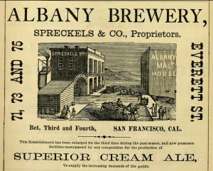 Ad for the Albany Brewery. SF Directory, 1874. From Archive.org