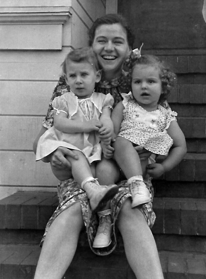 About 1940. Ann Marie Garvin (left) on her mother's lap, with her cousin Jacqueline, at the 301 Joost Avenue house. Photo courtesy Jacqueline Durgin-Beck.