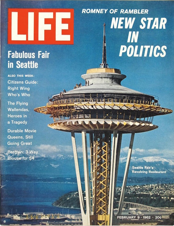 1962. Life magazine cover for the Seattle World's Fair, for which the landmark Space Needle was built. 99designs.com.