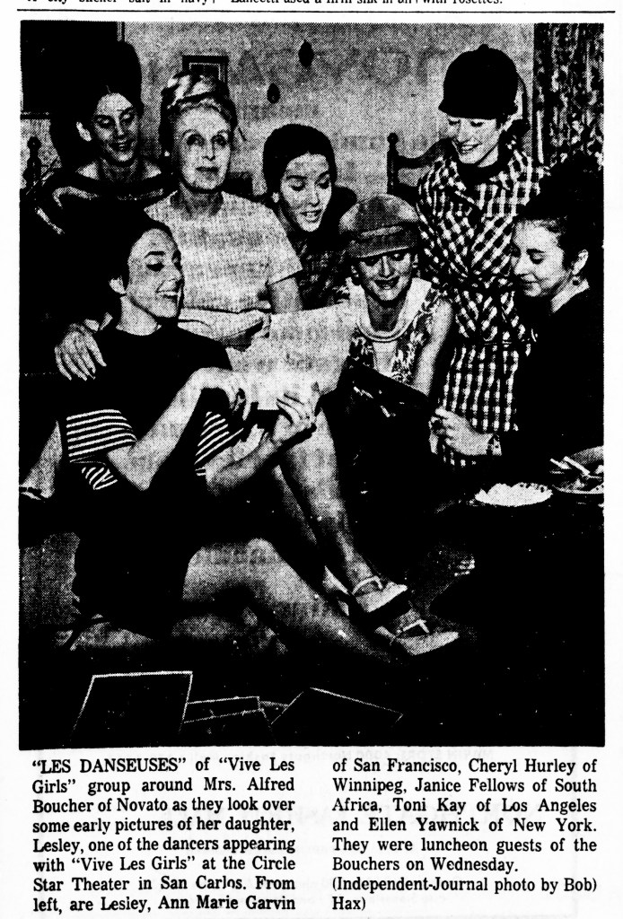 San Rafael Daily Independent Journal, 23 Jan 1967. Photo of some of the dancers of the Las Vegas-based