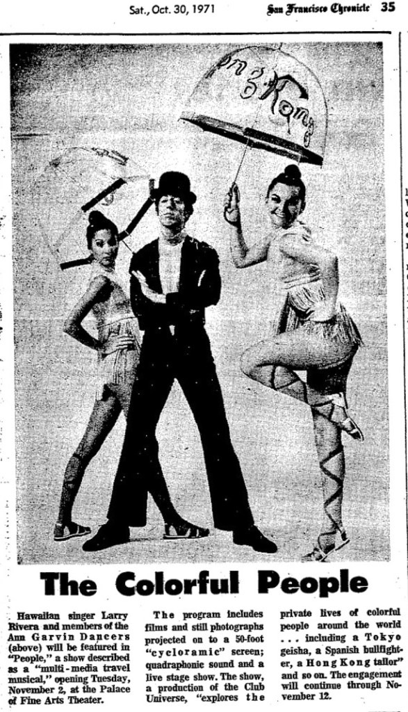 SF Chronicle, 30 Oct 1971. Three performers from the Garvin Dancers, in the show