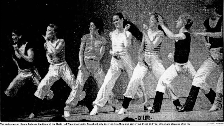 SF Examiner, 20 Dec 1981. Dancers in Dance Between the Lines at the Music Hall Theater. Photo: Chris Hardy. Newspapers.com.