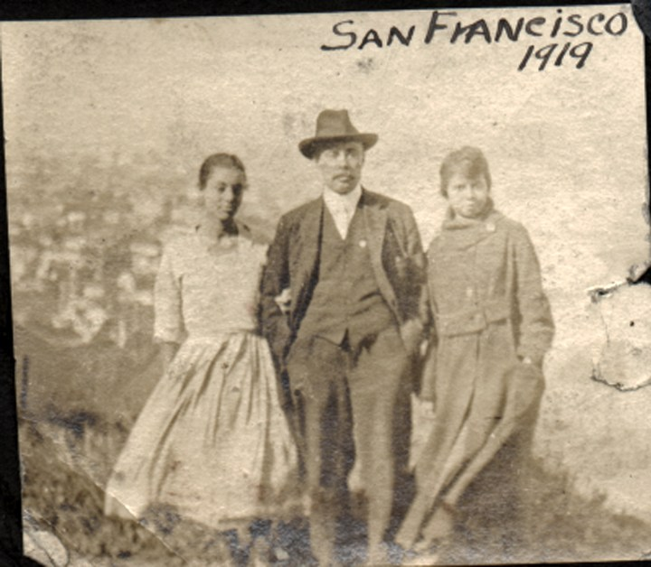 1919. (L to R) Irma Tyrrel, Bertram Tyrrel, and an unidentified woman on the hillside in front of the Laidley Street house. Courtesy Charles Reid/Ivy Reid Collection.