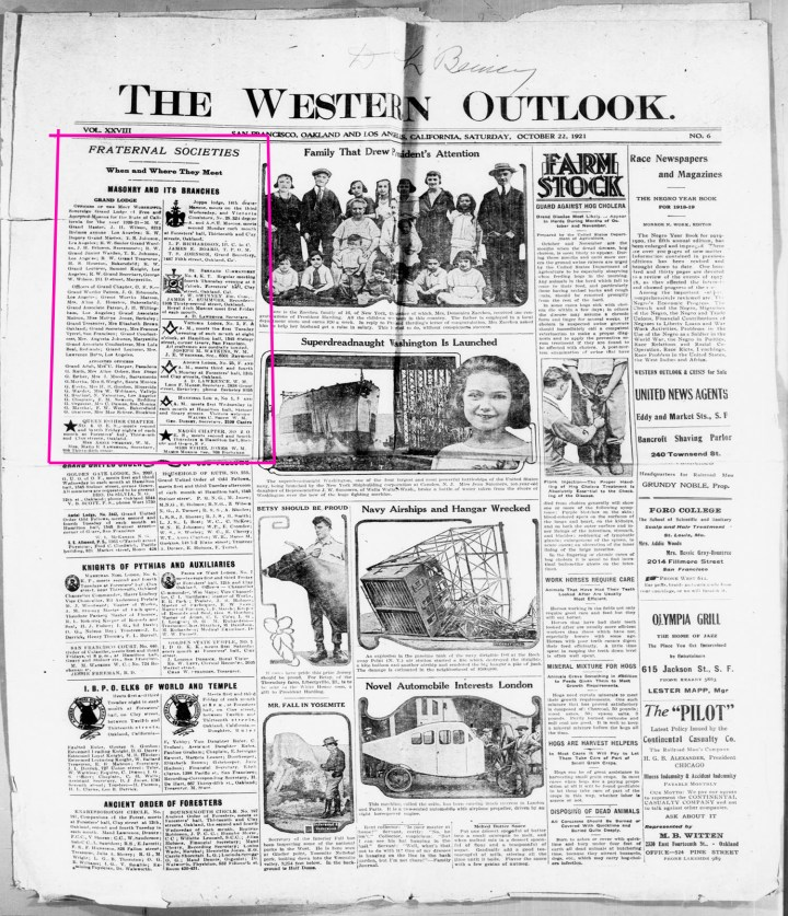 22 Oct 1922. Front page of The Western Outlook, one of San Francisco's black newspapers. Marked area is news about fraternal organizations. TexasHistory.UNT.edu.