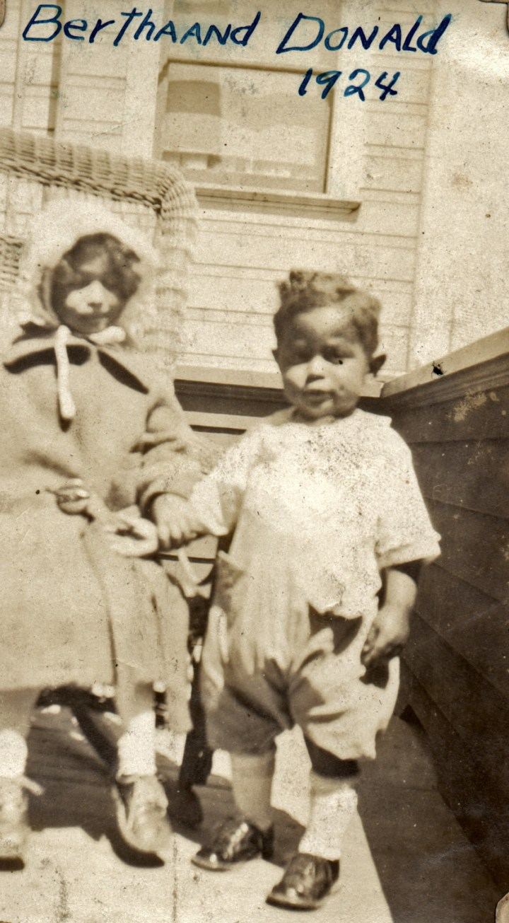 1924c. Bertha Reid and Donald Reid on the back patio of 558 Chenery Street. Courtesy Charles Reid/Ivy Reid Collection.