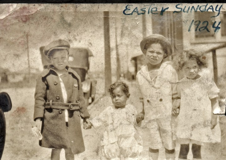1924, Easter. Donald and Bertha Reid with two Reid cousins. (L to R) unidentified boy, Donald Reid, Mel Reid, and Bertha Reid. Courtesy Charles Reid/Ivy Reid Collection.