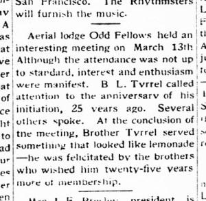 The Western Outlook, 17 Mar 1928. Bertram Tyrrel celebrates an anniversary. TexasHistory.UNT.edu.