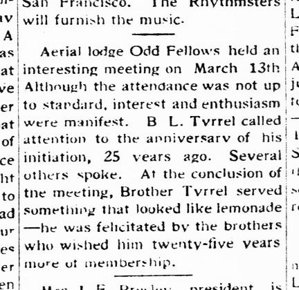 The Western Outlook, 17 Mar 1928. Bertram Tyrrel celebrates an anniversary. TexasHistory.UNT.edu.