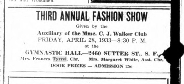 Madam CJ Walker Fashion Show, Frances Tyrrel, chair. The Spokesman, 6 Apr 1933. Archive.org.