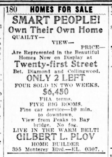 Ad, SF Examiner, 15 Mar 1940. Newspapers.com