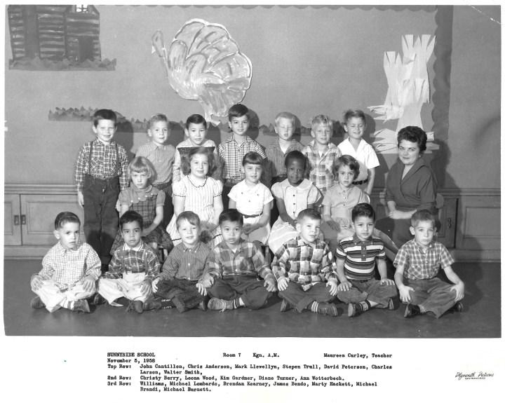 Kindergarten, Sunnyside School, 1958. Courtesy Marty Hackett.