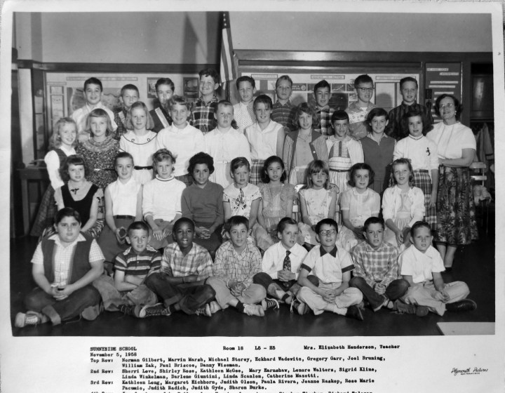Fifth grade, Sunnyside Elementary School, 1958. Courtesy Greg Gaar.