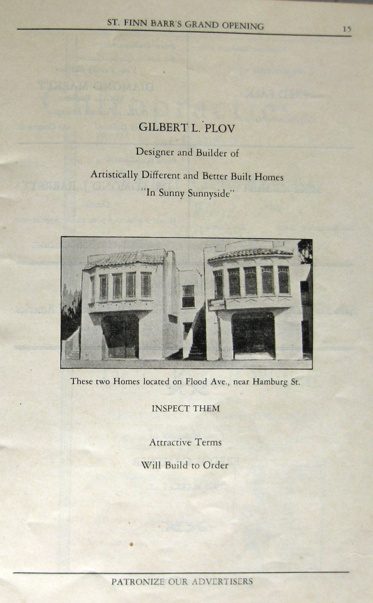 Page from the grand opening program for St Finn Barr Church hall, Sept 1927. Ad for Gilbert Plov, with photo of recently built houses at 570 and 566 Flood Avenue, Sunnyside. Courtesy St Finn Barr Church.