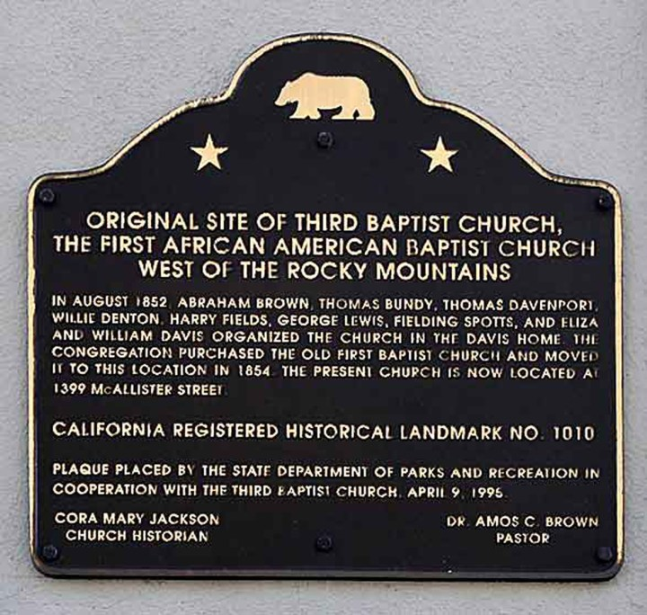 Plaque for California Historical Landmark No. 1010, Third Baptist Church, at the church's first location, Grant and Greenwich in North Beach. NoeHill.com.