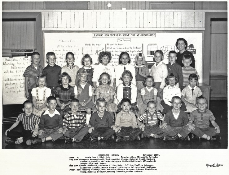 Second grade, Sunnyside Elementary School, 1959. Courtesy Greg Adams. View larger.