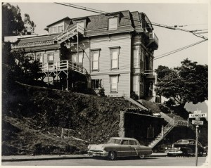 Poole-Bell House, October 1957. Photo: Russell Leake. San Francisco History Center. San Francisco Public Library.