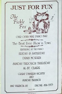 Flyer for Fickle Fox, San Francisco LGBT Business Ephemera Collection. Courtesy of Gay, Lesbian, Bisexual, Transgender Historical Society.