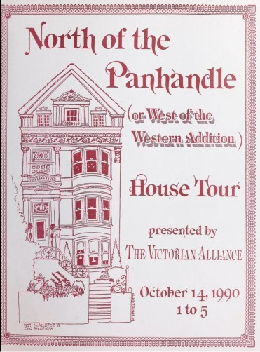 Cover of booklet for house tour. Victorian Alliance, 14 Oct 1990. Archive.org.