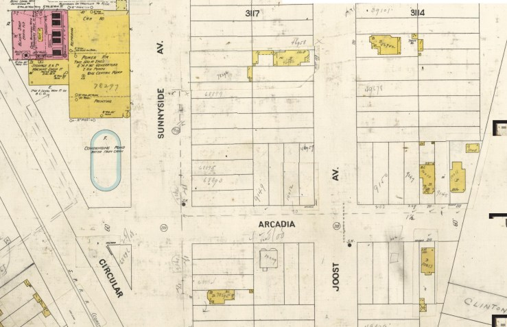 1905 Sanborn insurance map, showing use of 'Arcadia' for Acadia Street. Sunnyside Powerhouse with cooling pond on left. North on right. DavidRumsey.com