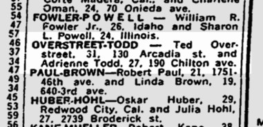 SF Chronicle, 5 May 1962. Marriage announcement. Late use of 'Arcadia' for Acadia Street.