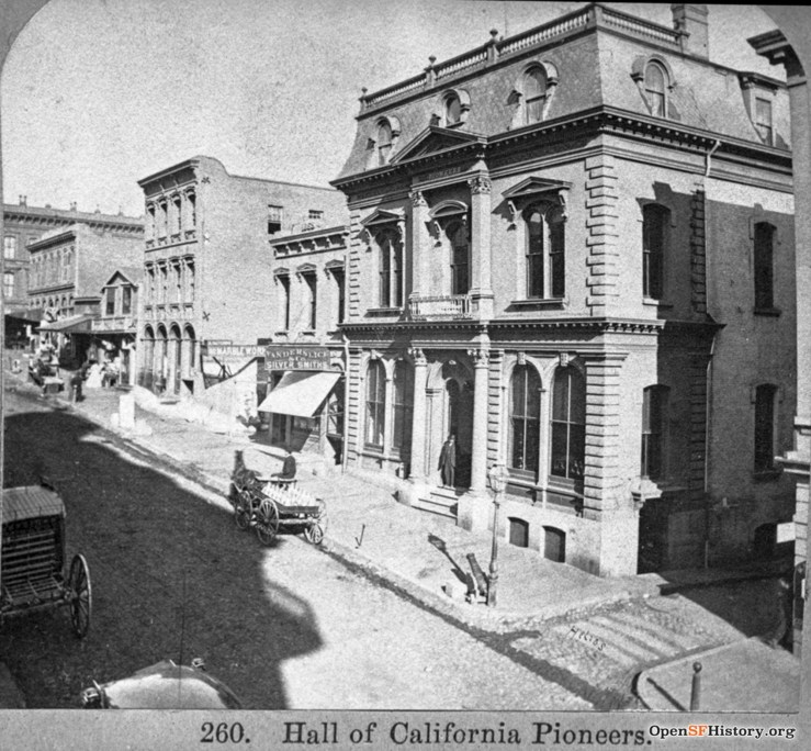 1870c. The location of Hastings College of the Law then, in the Hall of the Society of California Pioneers, 808 Montgomery. OpeSFHistory.org