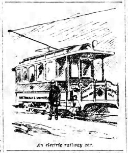 SF Chronicle, 27 Apr 1892. An illustration of the all-new electric streetcar.
