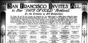 SF Chronicle announcement for the 'Path of Gold' Festival. 4 Oct 1916. Newspapers.com