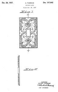 Fazekas patent for ornamental light switch plate, filed Oct 1937.