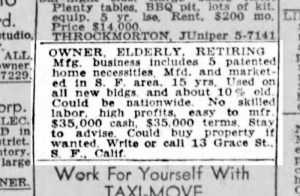 SF Chronicle, 9 Oct 1949.