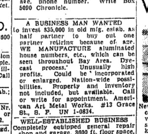 SF Chronicle, 13 Jan 1952.