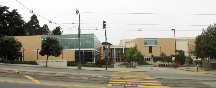 The City College of San Francisco Wellness Center viewed from Ocean Avenue near Howth. 2020. Photo: Amy O'Hair