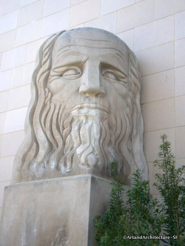 Leonardo Da Vinci by Fred Olmsted. located at Cloud Plaza, CCSF Ocean Campus. Photo: ArtandArchitecture-SF.org