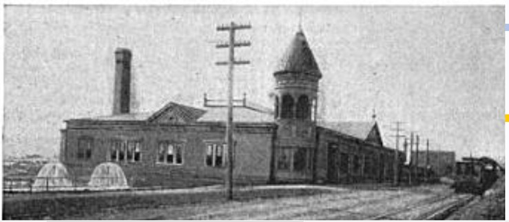 1893. Earliest known photograph of the Sunnyside Powerhouse. Cooling pond in operation. Monterey Blvd on right with streetcar. Street Railway Journal, July 1893.