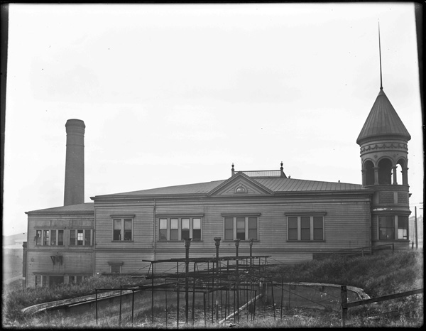 1904. Sunnyside Powerhouse viewed from the east side near Monterey and Circular. Cooling pool, disused, visible in foreground. Read more about the powerhouse. Courtesy SFMTA sfmta.photoshelter.com