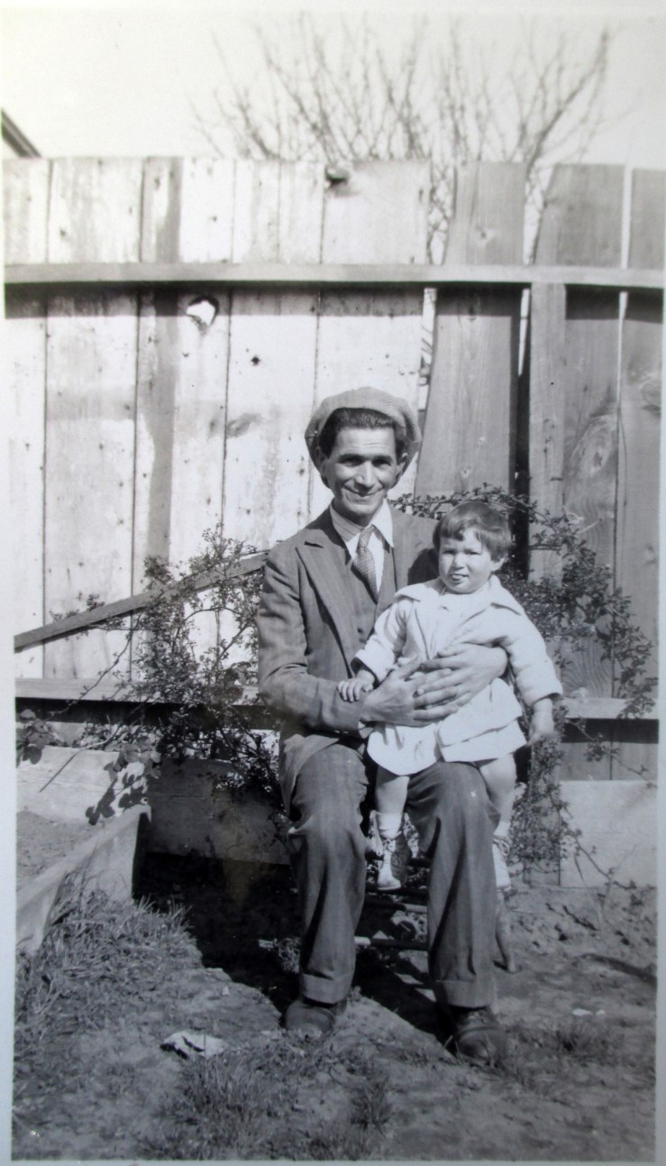 1930s. Max Staub with his daughter, at 346 Flood Ave. Courtesy Jo Staub.