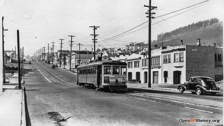 1940c. The No.10 electric streetcar on Monterey at Edna. The last streetcar ran a few years later, replaced by buses. OpenSFHistory.org
