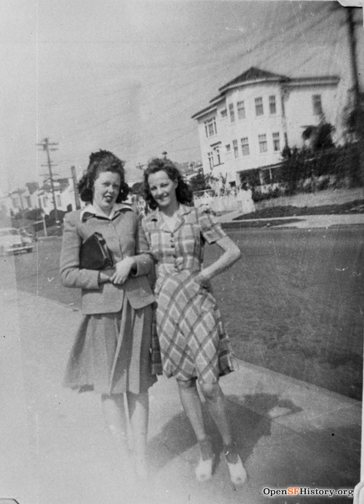 1940s. Two Strohmaier daughters, in front of family house at 755 Monterey Blvd. House behind is gone. OpenSFHistory.org